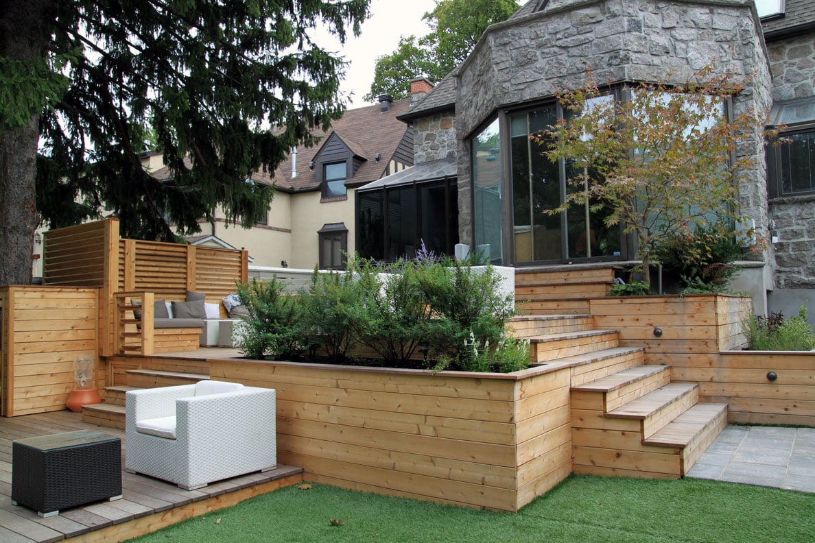 Am nagement denis paysagiste pav uni montr al laval for Plan de patio exterieur en bois